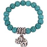 Yazilind Jewellery Gift Chap Turquoise Beads Tibetan Silver Cute Elephant Stretch Bangle Bracelet for Women Girls