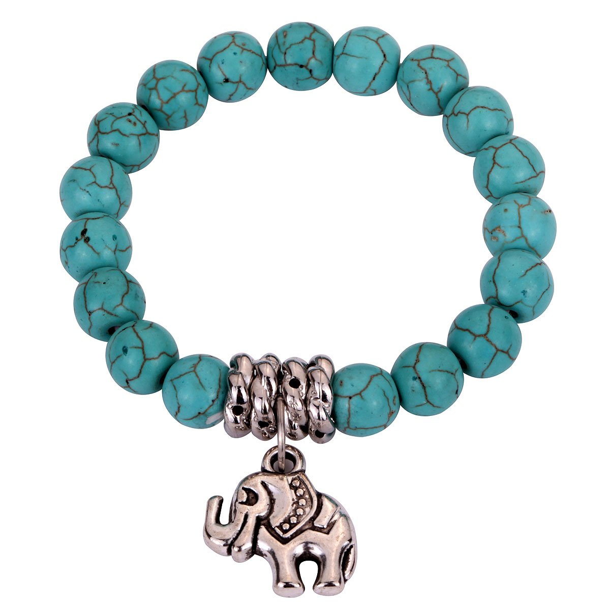 6cb0dfae5 YAZILIND Jewellery Gift Chap Turquoise Beads Tibetan Silver Cute Elephant  Stretch Bangle Bracelet for Women Girls: YAZILIND JEWELRY LIMITED:  Amazon.co.uk: ...