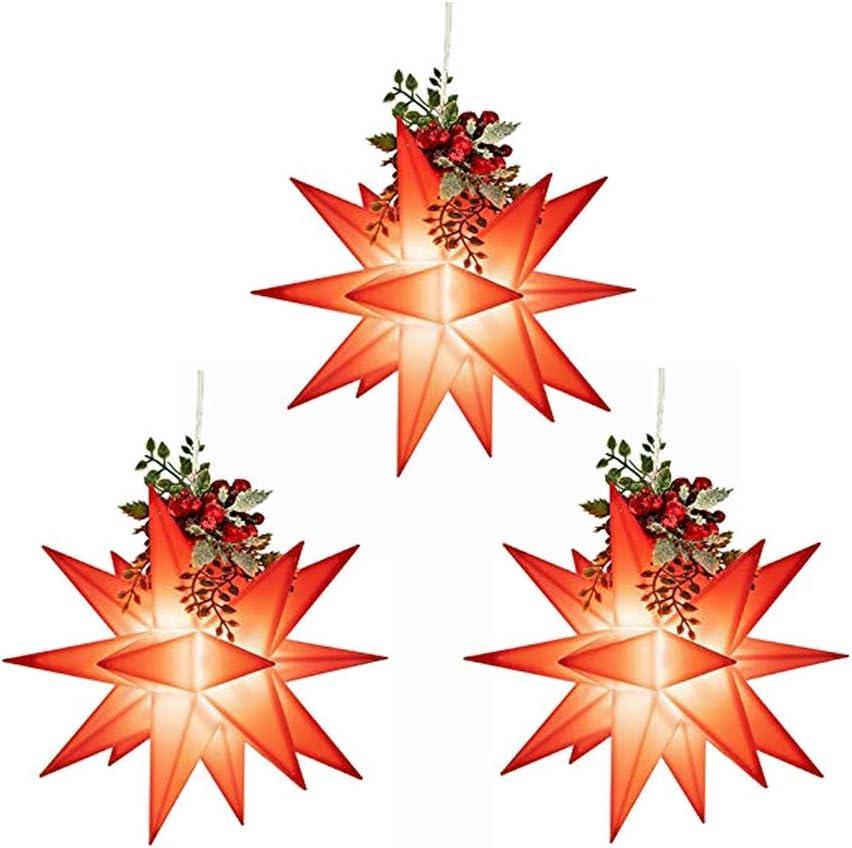 Timer-Funktion: 6 Stunden AN 3D LED Stern /Ø12cm Batteriebetrieben Rot | 3 St/ück 18 Stunden AUS Fenster-Deko zu Innen//Au/ßen Kabell/änge: 1,5m mit 18 Strahlen /& 2 LED-Lichtern in Warmwei/ß