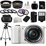 Sony Alpha a5000 ILCE-5000L/W ILCE5000LW ILCE5000 20.1 MP SLR Camera with 16-50mm Lens (White) + 32GB Bundle 20 PC Accessory Kit.