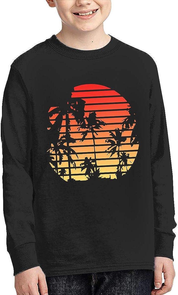Teenagers Teen Girl 80s Tropical Sunset Printed Long Sleeve 100/% Cotton Tops
