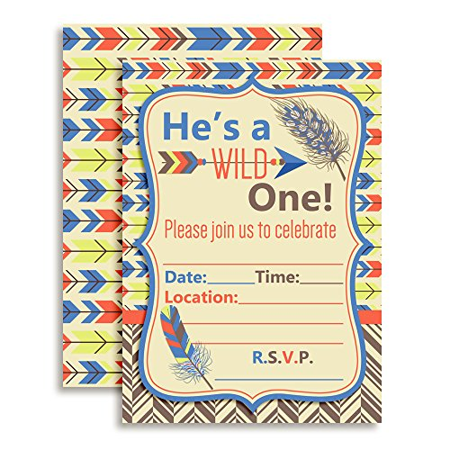 Wild One Boy, Tribal Boho Birthday Party Invitations Fill In Invitations, 10 5