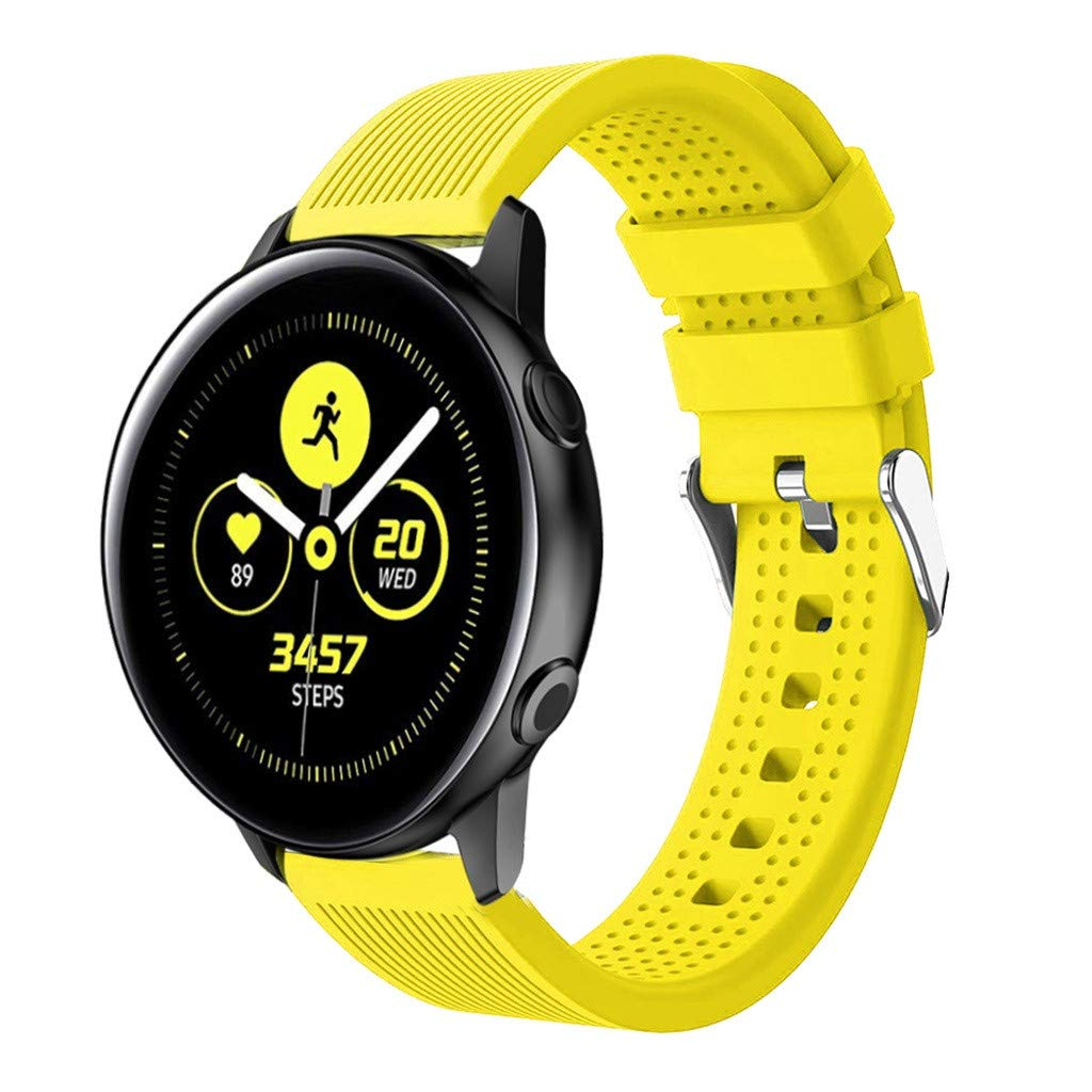 Choosebuy for Samsung Galaxy Watch Active Stripe Silicone Replacement Watch Band Wrist Strap (Yellow)
