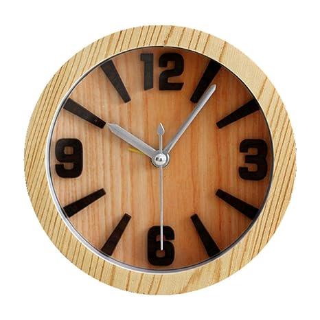 GAOHL Reloj de mesa despertador madera 3D relojes despertadores