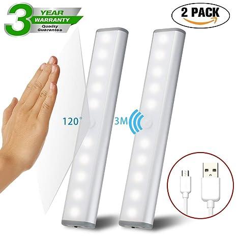 2 artículos Kit de luz de sensor de movimiento, luz de armario inalámbrica Lámpara de