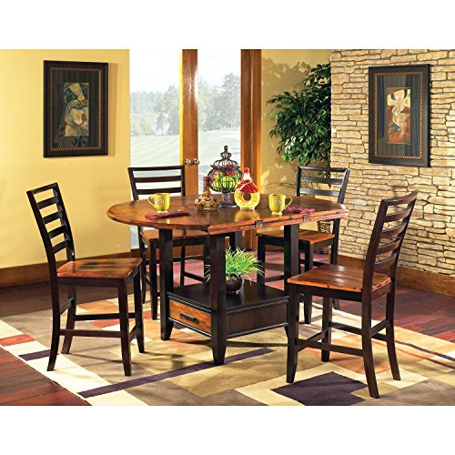 Counter Height Dining Set by Lauren Wells Pierson 5-Piece Features Drop Leaf Design, Built-in Lazy Susan and Under Table Storage, Oak Finish, Great Addition for Dining Room ()