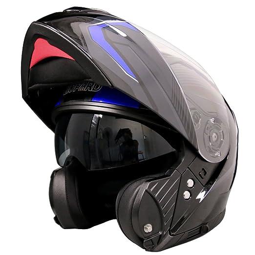 blau//grau//schwarz, Gr/ö/ße M Leopard LEO-888/Graphic DVS Motorradhelm Klapphelm f/ür Motorrad mit zweifachem Sonnen-Visier