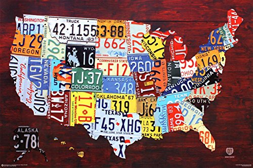 State License Plate (License Plate Map of the United States Poster 36 x 24in)