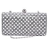 Damara Womens Charming Pearl Mosaic Wedding Party Evening Bag Box Handbag,Black
