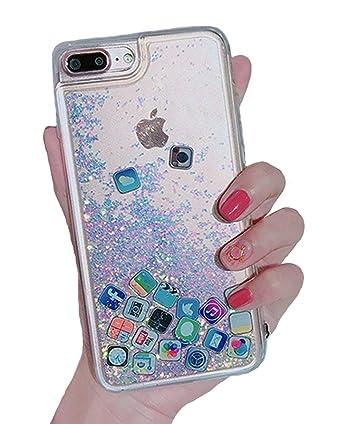 Amazon.com: Carcasa para iPhone 7 Plus, con purpurina ...