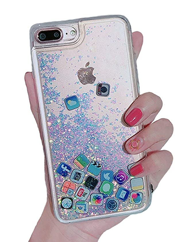 wholesale dealer 6c9d7 cce8a UnnFiko Liquid Glitter Case for iPhone 6 Plus, Hard Back Colorful Bling  Quicksand with iOS icon Apple APP Shine Phone Case for iPhone 6s Plus  (Silver ...