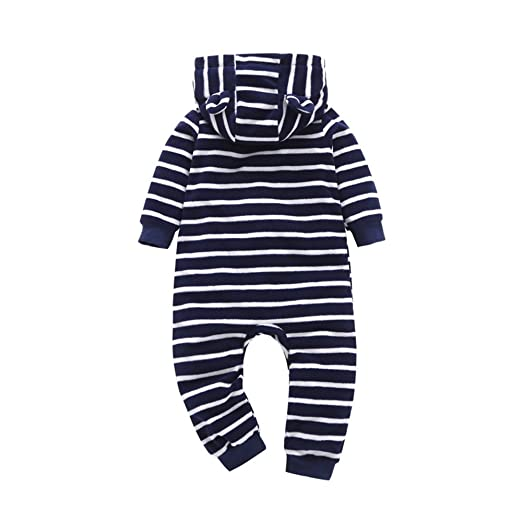 Amazon.com  Lurryly ❤Boys Girls Thicker Striped Hooded Romper Jumpsuit  Outfit Infant Baby Clothes 0-2T  Clothing 0cc9e1586
