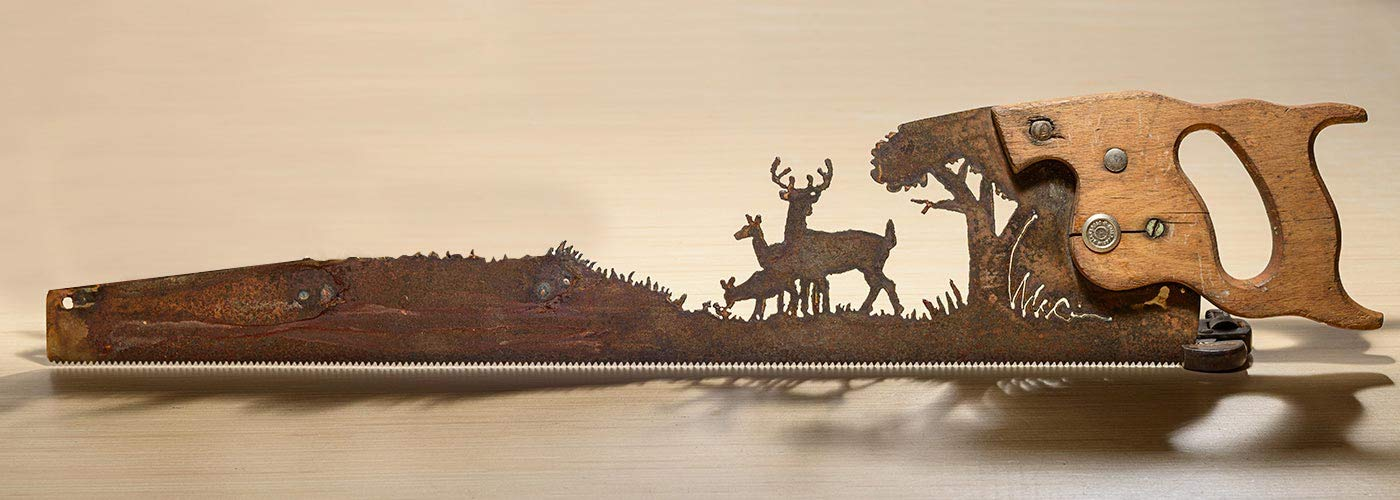 Metal Art Deer in the forest design Hand cut (plasma) hand saw | Wall Decor | Garden Art | Recycled Art | Re-purposed - Made to Order