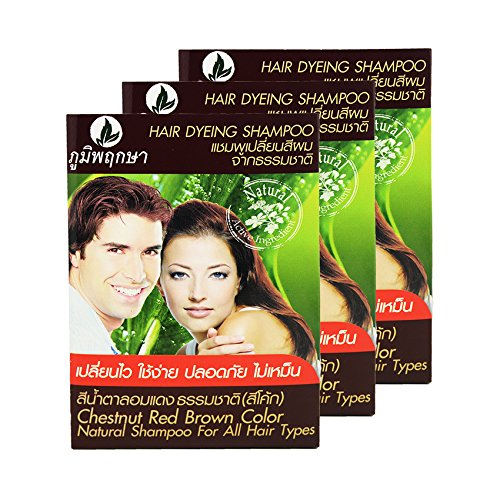 hair-dyeing-shampoo-natural-herb-no-ammonia-poompuksa-color-chestnut-red-brown-3-pcs