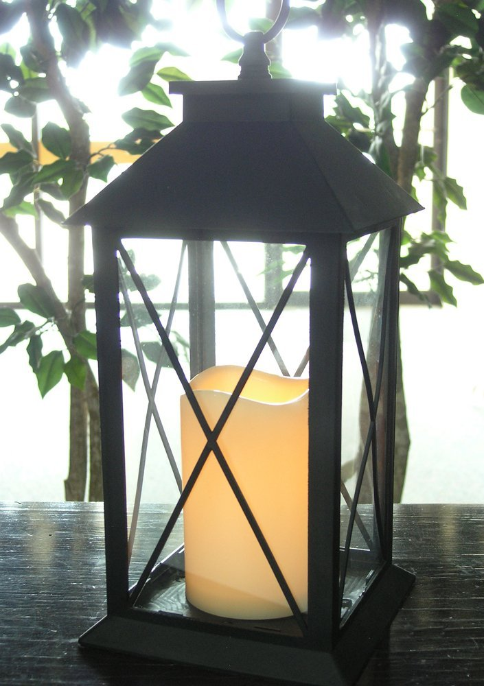 Black Decorative LED Lantern with Cross Bar Design - Pillar Candle with 5 Hour Timer Included - Hanging or Sitting Decoration - Set of 2-13'' H