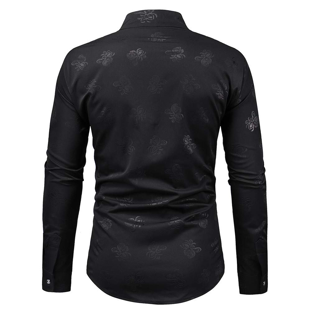Dempuss Men Long Sleeve Butterfly Printed Casual Turn-Down Collar Shirts Top