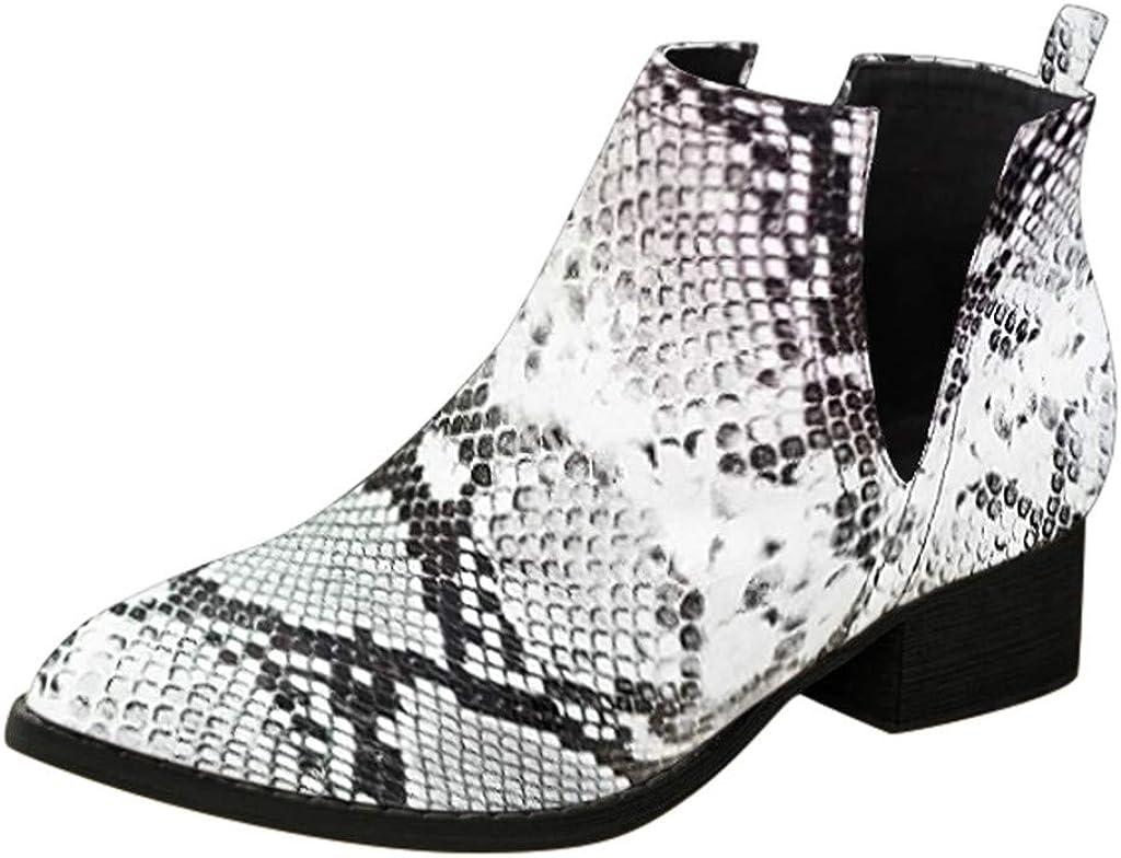 LONGDAY Wide Width Ankle Boots Mid Chunky Block Heels Point Toe Side Slip On Short BootiesWomen's Café Western Boot