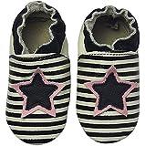 Rose & Chocolat Chaussures Bébé Star Stripe Noir
