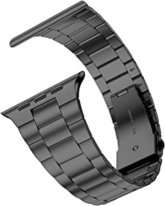 [Upgraded] Wolait Compatible with Apple Watch Band 44mm 42mm , Ultra Thin Solid Stainless Steel Band for Apple iWatch SE Series 6/5/4/3/2/1 Men Women -Space Gray