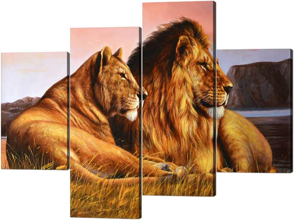 4 Panels Lion Pictures Wall Decor Lioness and Lion on the Prarie Picture Printed on Canvas Giclee Artwork Modern Lion Canvas Wall Art Stretched and Framed Ready to Hang for Home Decor - 48''W x 36''H