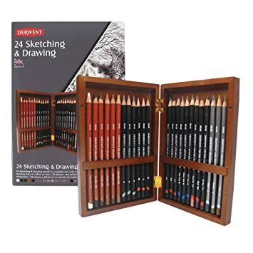 Derwent - Set de 24 lápices para dibujo (en estuche de madera)