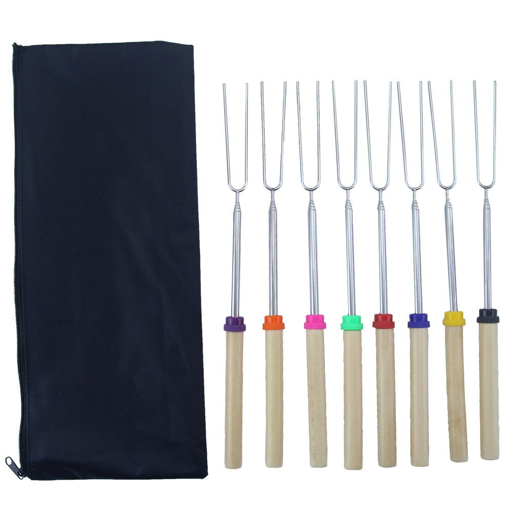 8pcs Barbecue Marshmallow Roasting Sticks Telescoping Fork Smores Skewers