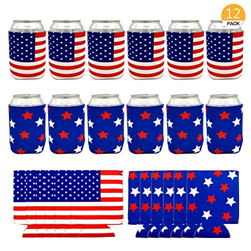 Onene 12 pieces American Flag Can Cooler Sleeves, Neoprene Beer Coolies for Cans and Bottles, Collapsible Drink Cooler Sleeves, Perfect Party Supplies for Insulating,BBQ,4th Of July,Gifts,Events -