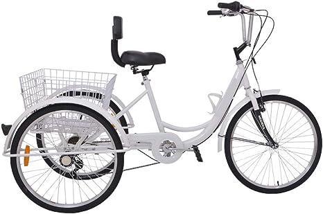 MOMOJA 24 Triciclo 6 Velocidad 3 Ruedas Bicicleta Trike Bicicleta Ciclismo Pedal con Cesta de Compras para Deportes al Aire Libre para Adultos (Blanco): Amazon.es: Deportes y aire libre