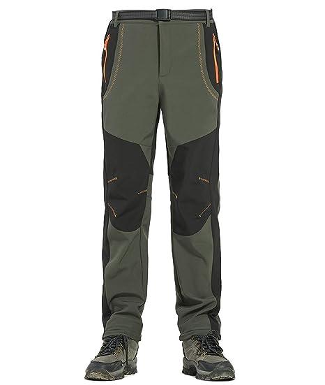 abdd926059ca8 Alleza Pantalon de Randonnée Homme Polaire Softshell Imperméable Coupe-Vent  en Plein Air pour Automne Hiver  Amazon.fr  Vêtements et accessoires