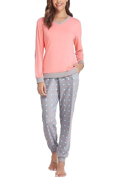 Hawiton Pijama Invierno Mujer Algodon Mangas Larga Pantalon ...