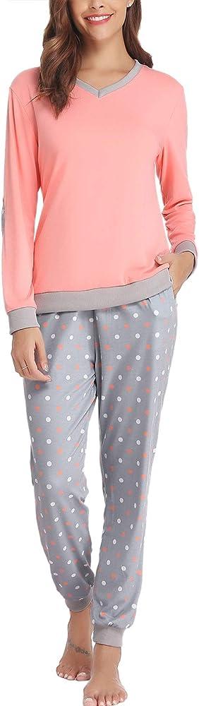 Hawiton Pijama Mujer Verano Largo Algodon Otoño Invierno Pantalones Camisetas Mangas Largas: Amazon.es: Ropa y accesorios