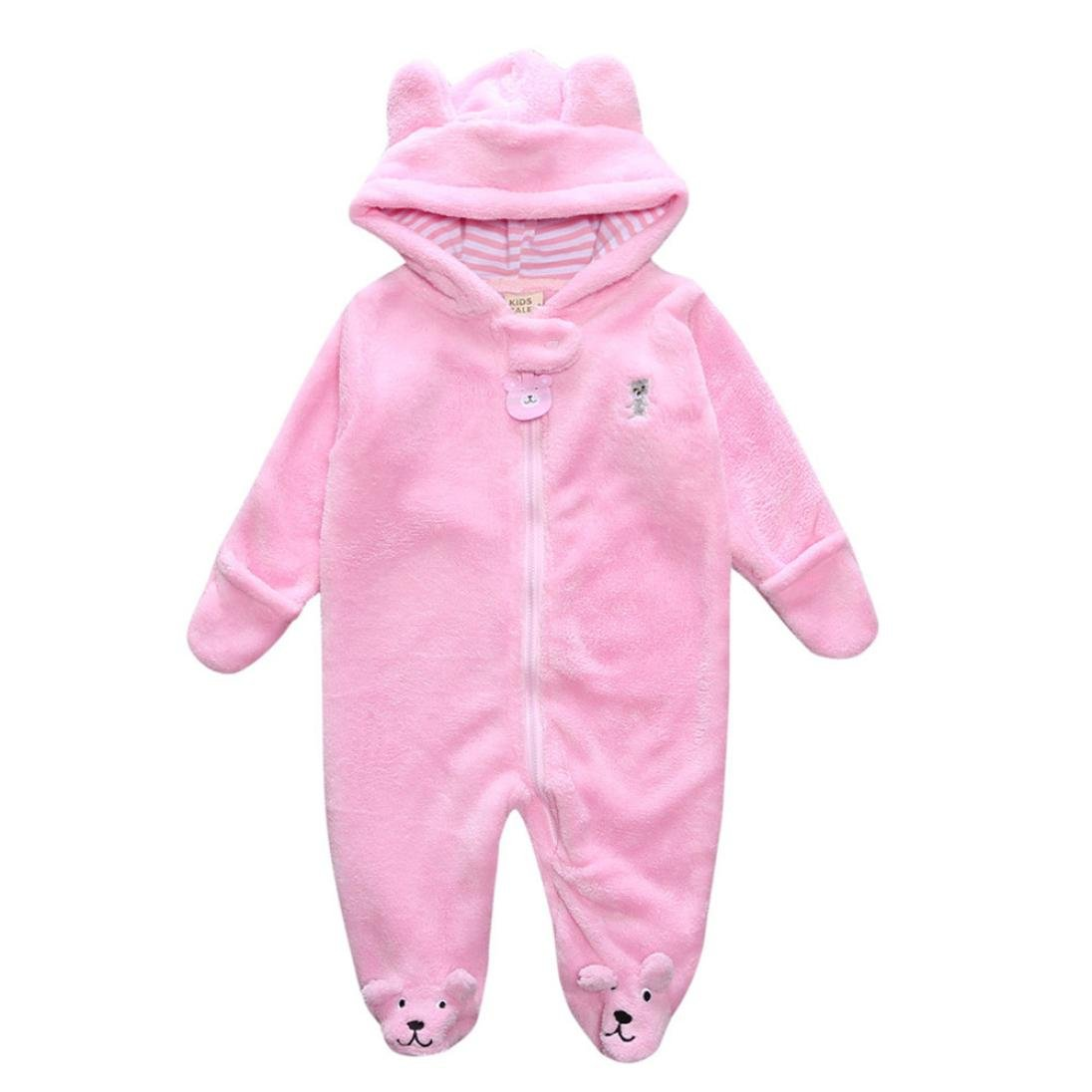 Baby Winter Coat, Egmy Cute Autumn Winter Newborn Baby Infant Boy Girl Bear Hoodie Jumpsuit Romper Clothes (3M, Pink)