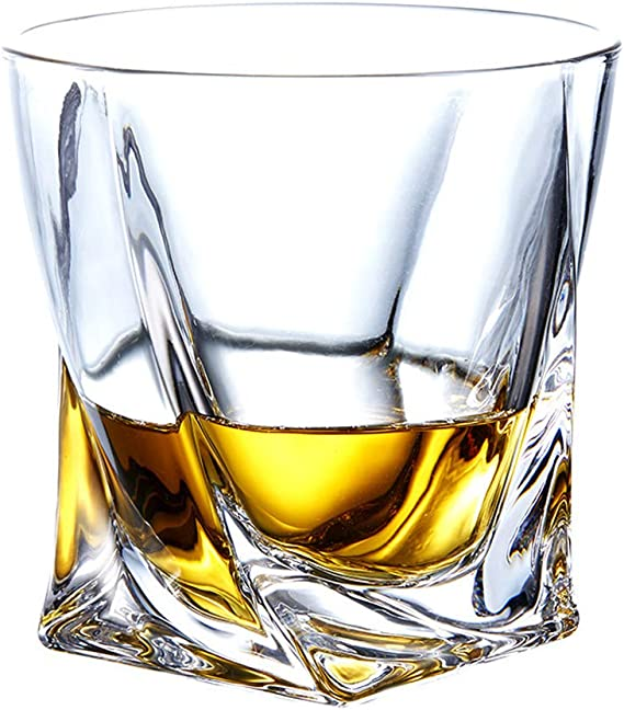 11 OZ Crystal Whiskey Glass Lead Free Scotch Glass Twisted Clarity Tumbler Elegant Whiskey Glass for Bourbon Cognac Irish Whisky Home Wedding Party Glassware Gift (Style 2)