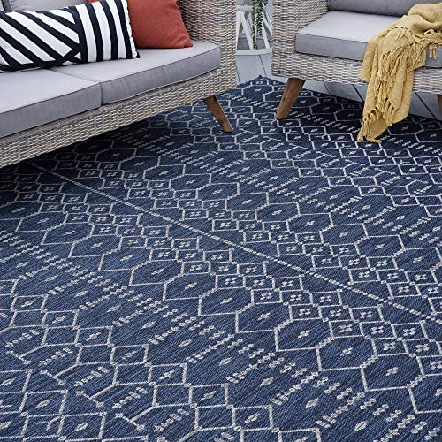 Tayse Evka Navy Outdoor 8×10 Rectangle Area Rug for Living, Bedroom, or Dining Room – Geometric