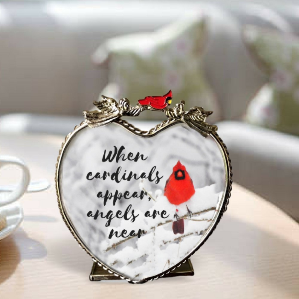 Banberry Designs Memorial Candle Holder - When Cardinals Appear, Angels Are Near - Red Cardinal in Snowy Winter Scene Printed on Heart Shaped Glass Candle Holder
