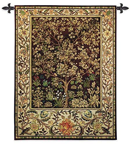 (Fine Art Tapestries Tree of Life Umber Hand Finished European Style Jacquard Woven Wall Tapestry USA Size)