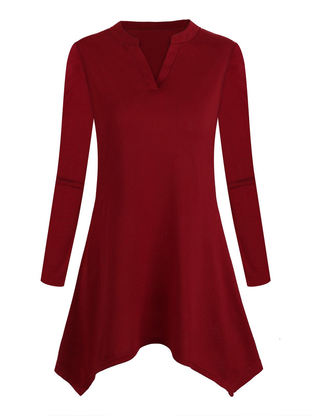 DSUK Asymmetric Hem Tunic, Juniors 3/4 Sleeve Unbalanced Irregular Hemline Fashion Style Looseness Fitting Smoothly New Slender Cosy Chic Tshirt Tunic Blouse for Office Wine Red Large