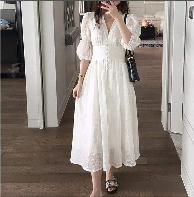 Vestido Blanco de Verano V-K de Manga Larga de una Sola Pecho, Vestido Vintage V-K de algodón Dividido - Blanco - Large: Amazon.es: Ropa y accesorios