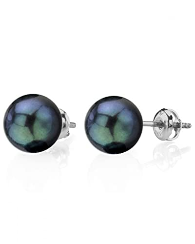 7.5-8.0mm Black Akoya Cultured Pearl Stud Earrings in 14K Gold
