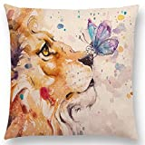 "Linara Boutique Decor Square Throw Pillow Cushion Covers, Watercolour Animal Print Series for Couch, Sofa, Bed, Home Decor, Interior Design, 18"" X 18"" (45CM X 45CM) (Lion and Butterfly)"