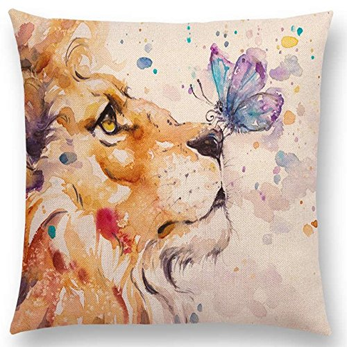 """Linara Boutique Decor Square Throw Pillow Cushion Covers, Watercolour Animal Print Series for Couch, Sofa, Bed, Home Decor, Interior Design, 18"""" X 18"""" (45CM X 45CM) (Lion and Butterfly) by Linara Boutique"""