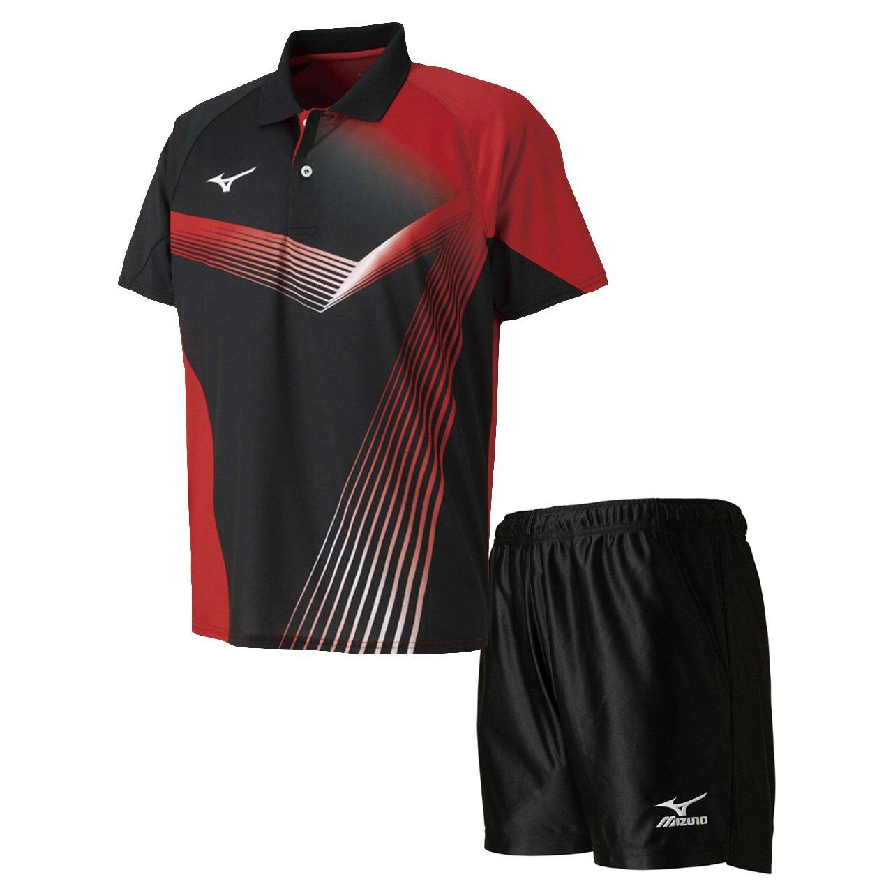 ミズノ(MIZUNO) ゲームシャツ&ゲームパンツ 上下セット(ブラック/ブラック) 82JA8011-09-82JB7006-09 B07B7GJ6J5  ブラック/ブラック X-Small