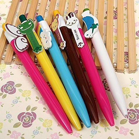5pcs Cute Kawaii Cartoon Animal Ball Point Pen Kids Children Stationery 0.38mm (Avatar Stand Up)