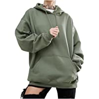 Coolred Womens Comfy Plus Size Pockets Warm Hoodies Sweater Pullover Army Green 3XLarge