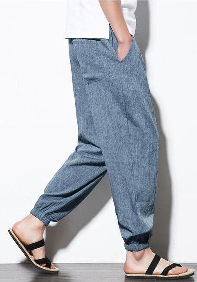 SHOWNO Mens Drawstring Plus Size Cotton Linen Loose Fit Pure Color Jogger Harem Pants Trousers