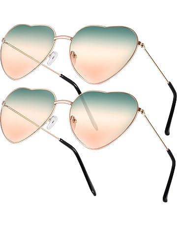 a65c90e47 Boao 2 Pares de Gafas de Sol de Marco en Forma de Corazón en Estilo Hippy