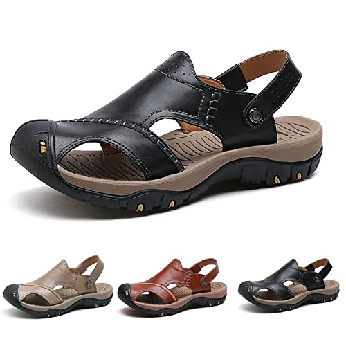 3fb6d2b3d4b ZHShiny Mens Leather Sport Sandals Summer Fisherman Walking Shoes for  Outdoor Hiking Beach  Amazon.co.uk  Shoes   Bags