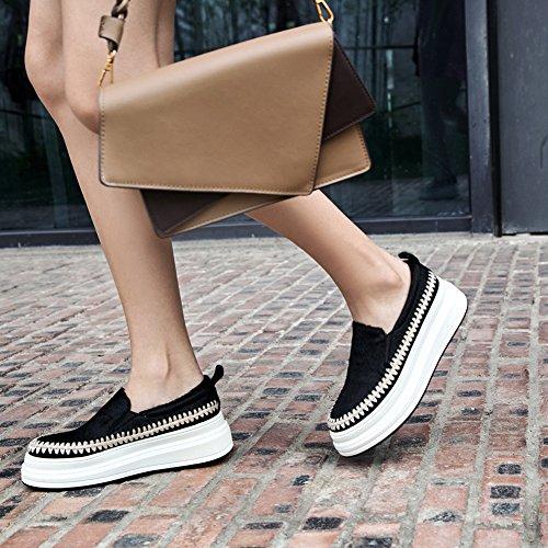 KJJDE Femme Bande Plateformes en WSXY 38 Élastique Tricotée Double Q1615 Semelles Chaussures À Daim Creepers Baskets Black rnSFwYrqg
