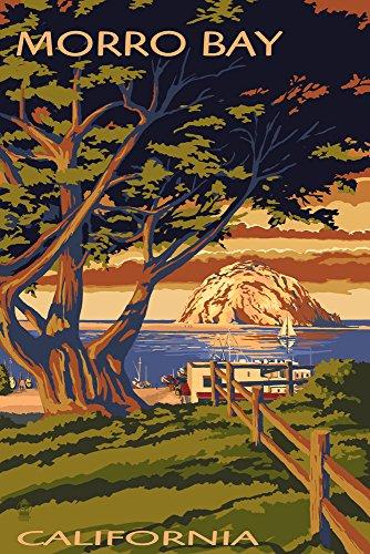 (Morro Bay, California - Town View with Morro Rock (9x12 Art Print, Wall Decor Travel Poster))