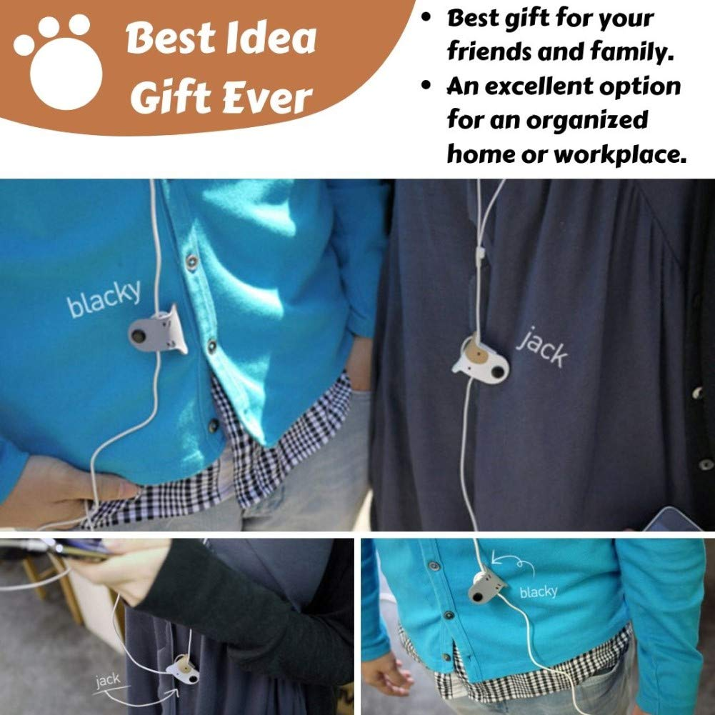 Earbuds Earphone Holder Cord Winder Clip Keeper Headphone Cord Wrap Management Headset Wire Organizer 2 PCS Cute Doggie Tangle Free Storage Case